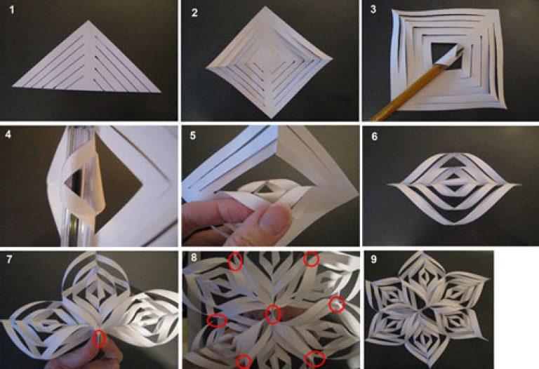 Поделки из бумаги своими руками снежинки объёмные 47
