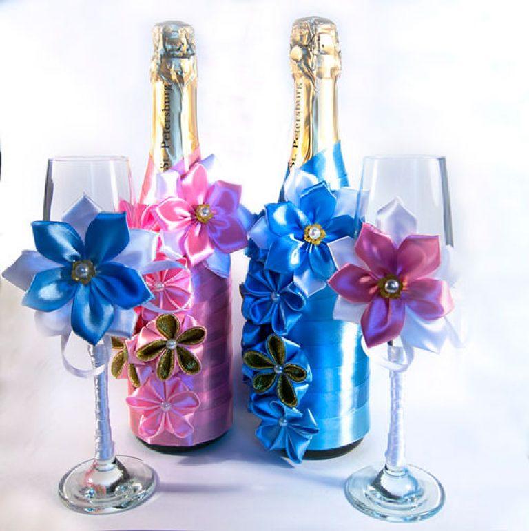 Бутылки на день рождения из лент своими руками