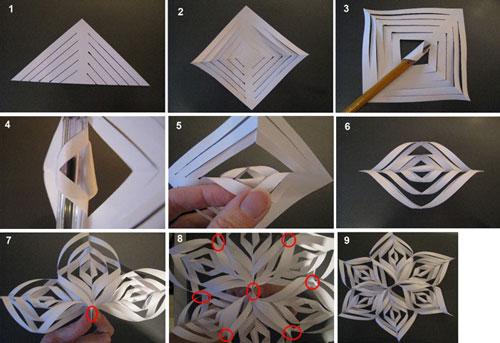 Как сделать объёмную снежинку из бумаги 62