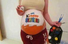 Идеи простых и прикольных рисунков на беременном животе