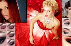 Макияж под красное и бордовое платье