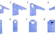 Как аккуратно сложить рубашку с коротким и длинным рукавом в чемодан, чтобы не помялась?